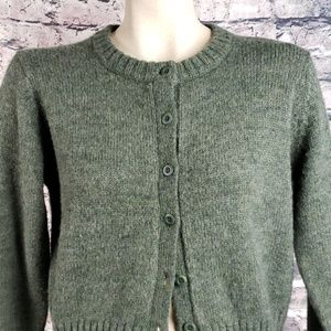 J Crew Olive Crew Crop Cardigan Medium